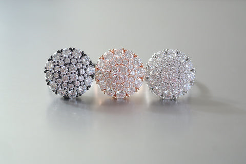 Sterling Silver Crystal Cluster Round Ring (3 Colors) - SDG by Grace