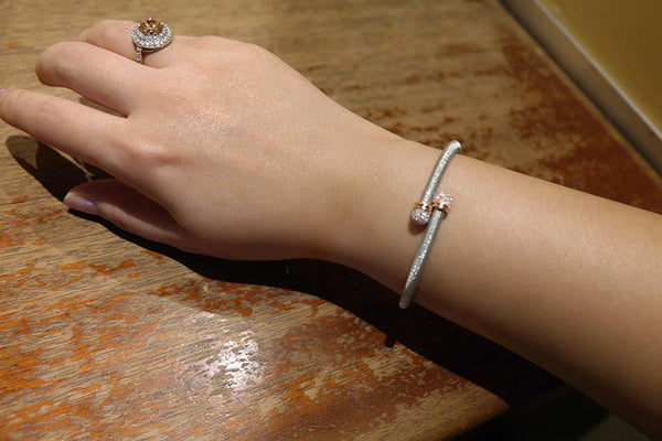 Head Lock Italian Silver Bracelet, White - SDG by Grace