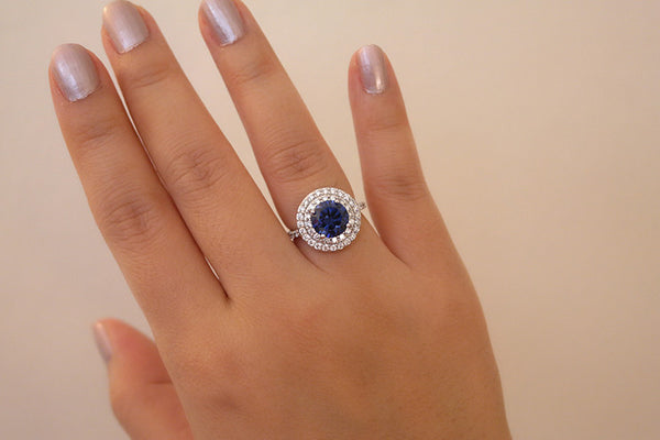 Sterling Silver Tanzanite CZ Double Halo Ring - SDG by Grace