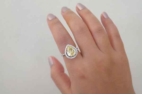 Sterling Silver Lemon Color CZ Teardrop Ring - SDG by Grace