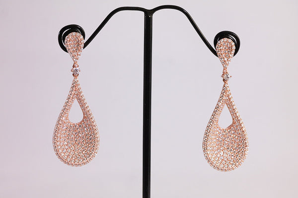 Sterling Silver Teardrop Pave Earrings, Rose - SDG by Grace