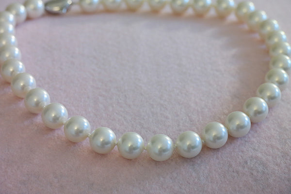 White Pearl Necklace, 12mm - SDG by Grace