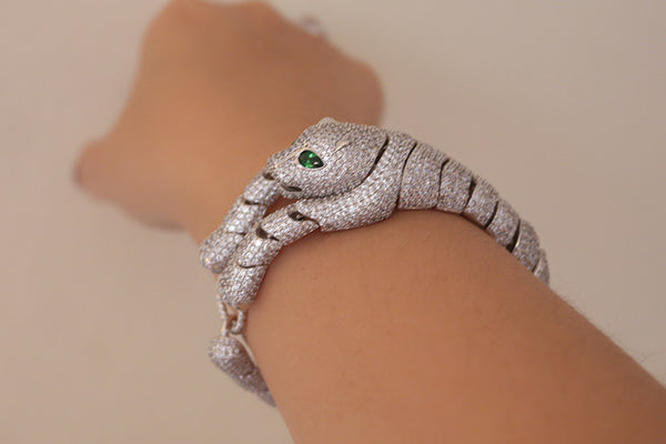Extravagant Panther Bracelet, White - SDG by Grace