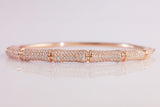 Sterling Silver Pave Bamboo Bangle, Rose - SDG by Grace