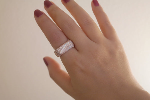 Brass Square Pave Ring, Rose - SDG by Grace