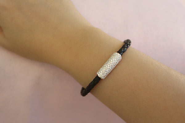 Italian Silver Leather Bracelet, Rose - SDG by Grace