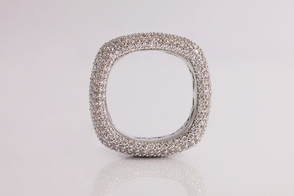 Brass Square Pave Ring, White - SDG by Grace