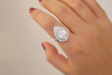Sterling Silver Teardrop Double Halo Ring - SDG by Grace
