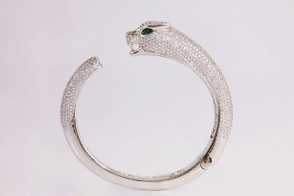 Brass Panther Bangle, White - SDG by Grace