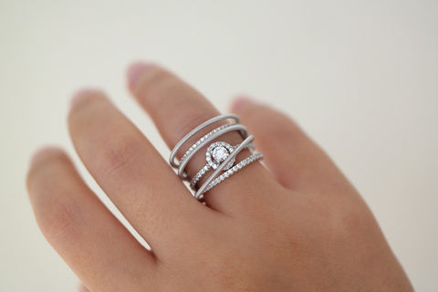 Italian Silver Multi Row Ring - SDG by Grace