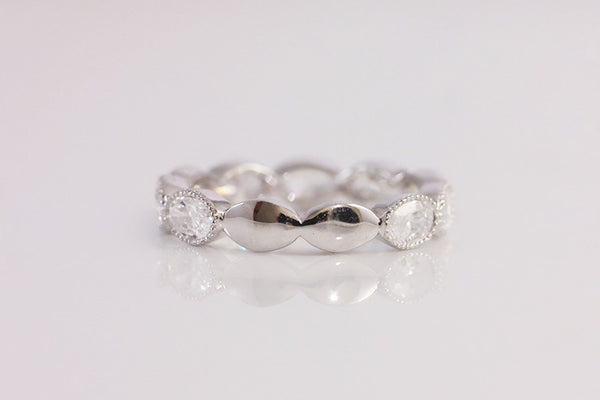 Sterling Silver Oval Crystal Ring - SDG by Grace