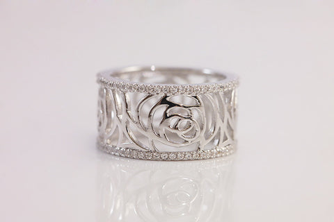 Sterling Silver Rose Filigree Ring - SDG by Grace