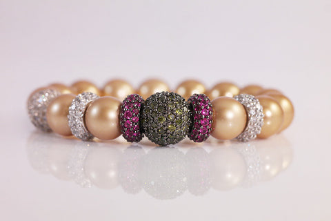 Golden Pearl and Pave Ball Bracelet - SDG by Grace
