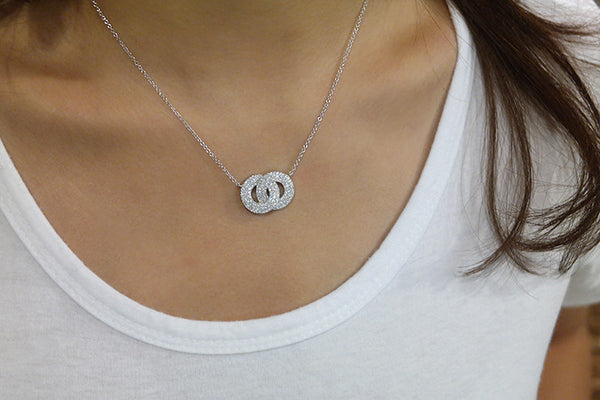 Sterling Silver Double Circle Pendant Necklace - SDG by Grace
