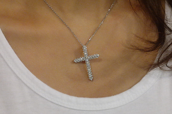 Sterling Silver Crystal Encrusted Cross Necklace - SDG by Grace