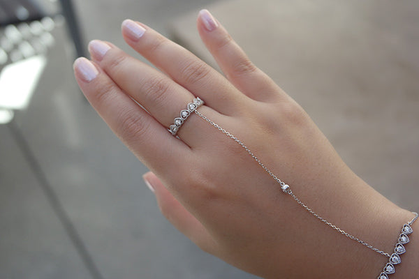 Sterling Silver Heart Chain Ring and Bracelet - SDG by Grace