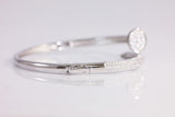 Sterling Silver Pave Setting Nail Bracelet, White - SDG by Grace
