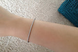 Sterling Silver Skinny Bangle, White - SDG by Grace
