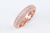 Sterling Silver Three Row Eternity Ring, Rose - SDG by Grace