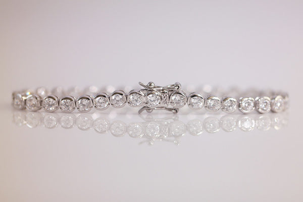 Sterling Silver Bezel Set Tennis Bracelet - SDG by Grace