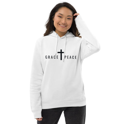 GRACE + PEACE CROSS Hoodie (White) | Unisex