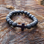 Natural Stone Cross Bracelet - Handmade