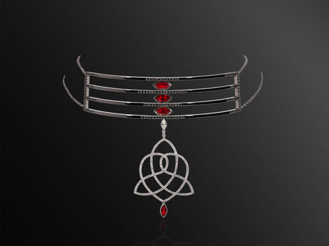 Queen Boudicca Black Diamond and Ruby Choker