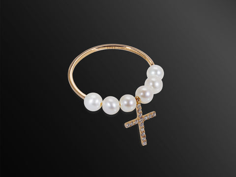 La Croce Diamond and Pearl Ring