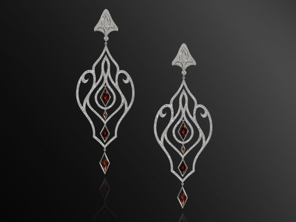 Forbidden Diamond and Garnet Earrings