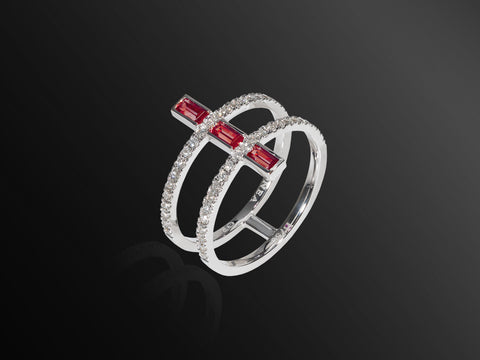 Linee Misteriose Diamond and Ruby Mini Ring