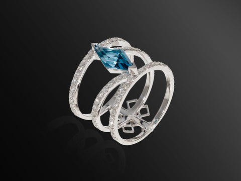Linee Misteriose Topaz and Diamond Mini Ring