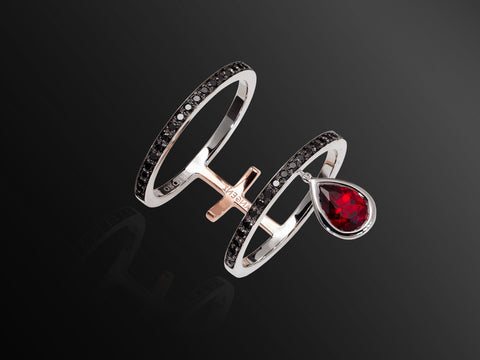 Linee Misteriose Black Diamond Double Ring