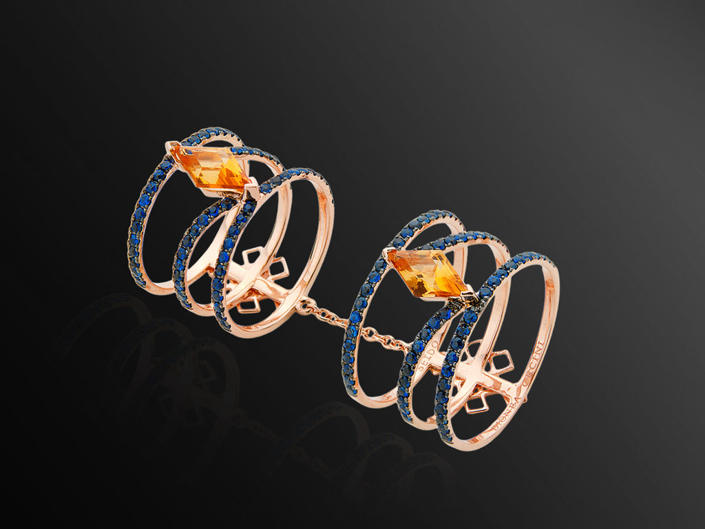 Linee Misteriose Ring with Citrine and Sapphires