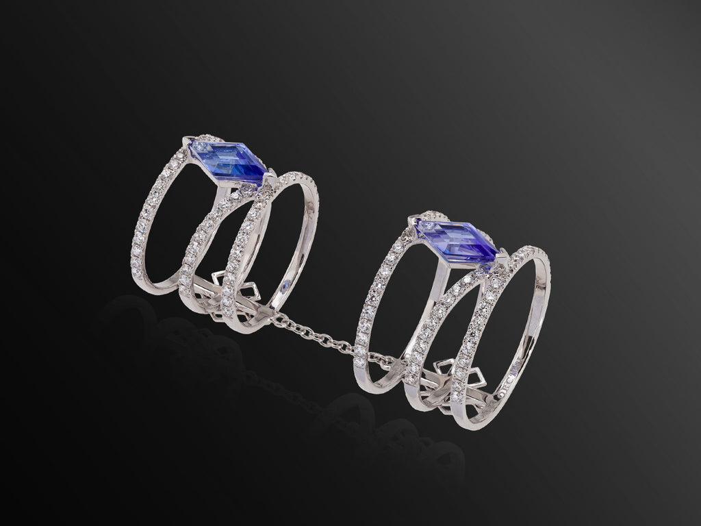 Linee Misteriose Ring with Diamonds and Tanzanite