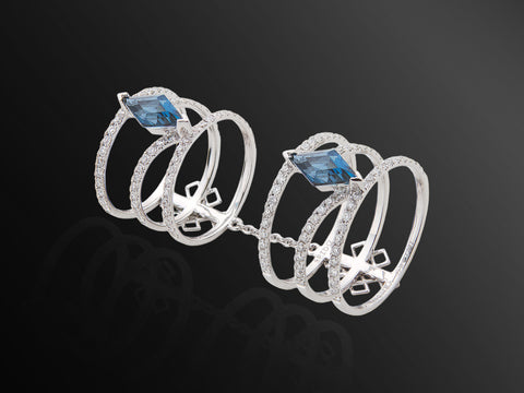 Linee Misteriose Diamond and Topaz Ring