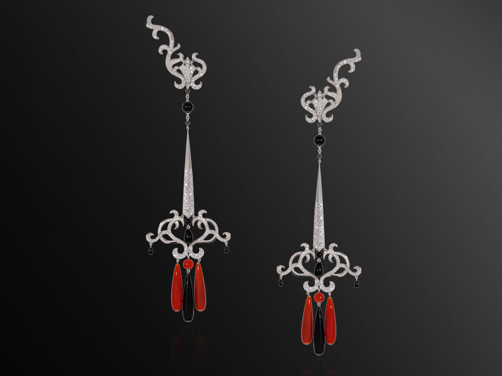Amanee Arabesque Earrings with Diamonds, Agate and Onyx