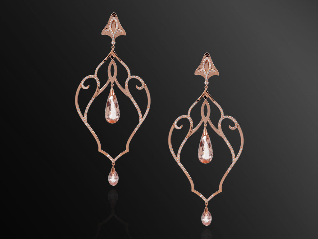 Forbidden Diamond and Morganite Earrings