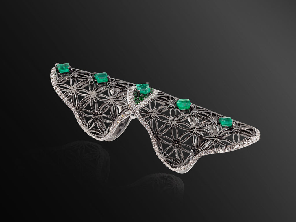 Semiramis Double Ring in Black Gold with Emeralds
