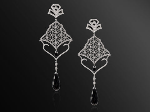 Semiramis Diamond and Onyx Earrings