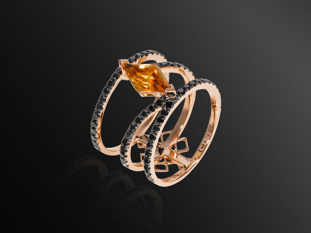 Linee Misteriose Black Diamond and Citrine Ring