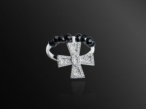 Maltese Cross Diamond Symbol Ring