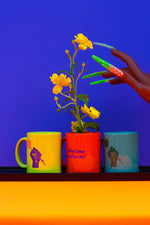 Load image into Gallery viewer, teal, lime, and orange mugs with yellow flowers