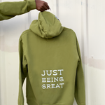 "Load image into Gallery viewer, Army Green Miss Green ""Being Great"" F&F Hoodie"