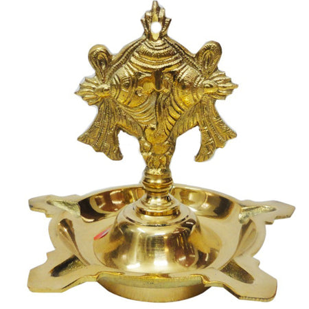 Decorative Hanging Lamp, Brass hanging vilakku, Brass decorated hanging lamp with shanka and chakra,  brass puja cup, Santana Bela, Brass puja items, online spiritual store, anarghyaa.com