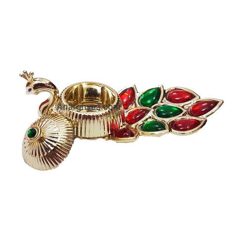 Peacock Kumkum Holder With Kundanstones
