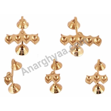 Brass Pancha Arti Set - Set of five pieces, Anarghyaa.com, Brass Puja Items