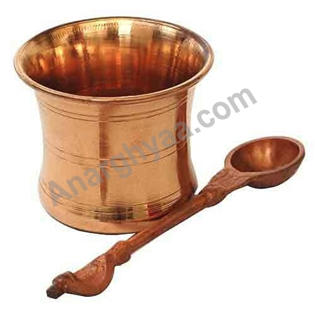 Copper Panchapatra Udrini achamani, Copper puja items, anarghyaa.com
