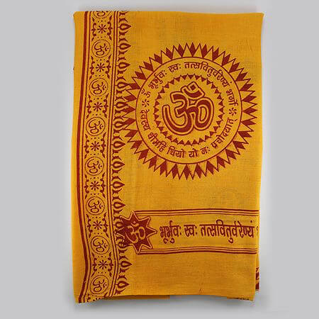 Om Printed Cotton Shawl, Angavastram,  puja accessories, puja items, anarghyaa.com, puja product