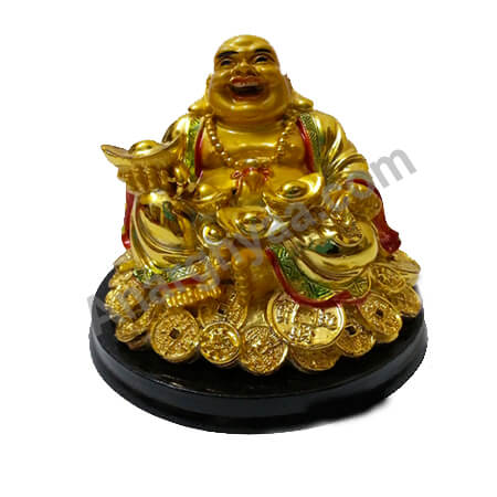 Feng Shui laughing buddha on coins, Anarghyaa.com, Fengshui items online