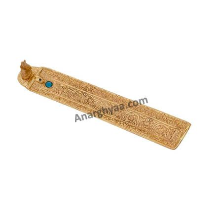 Gold Plated White Metal Incense Holder, Anarghyaa.com, Agarbathi stand, incense holder , Pooja Items Online